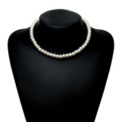 BABEYOND Round Imitation Pearl Choker Necklace Wedding Pearl Necklace for Brides White 41cm