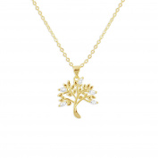 """Pendant For Woman By Fashionvictime - """"Tree Of Life"""" Gold And Rhodium Plated - Cubic Zirconia - Costume Jewellery -"""