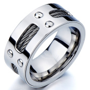 Mans Stainless Steel Ring Wedding Band with Steel Cables and Screws 10mm