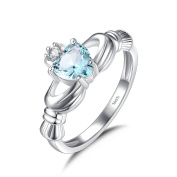 Blue Crystal Zirconia 925 Sterling silver Claddagh Ring for Women with Heart Shaped Stone Irish Jewellery