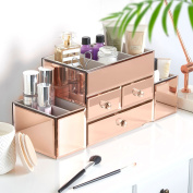 Beautify Rose Gold Mirrored Glass Jewellery Box & Makeup Organiser with 3 Drawers, 7 Storage Sections includes Glass Cleaning Cloth