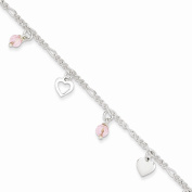 Sterling Silver 23cm Polished Heart and Rose Glass with 2.5cm ext. Anklet