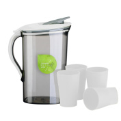 Evilandat 2190ml/ 2.1 L Water Pitcher Set with 4Pcs Cups Cold Water Pot Kettle Juice Tea Beverage Jug Kitchen