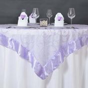 Efavormart Lavender Organza Embroidered Organza Table Overlay 150cm x 150cm