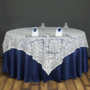 BalsaCircle 230cm Square Flower Lace TABLE OVERLAY Wedding Party Linens - Ivory