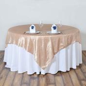 Efavormart Champagne Taffeta Crinkle Table Overlay 230cm x 230cm