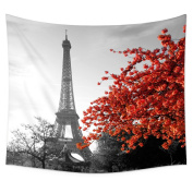 Uphome Grey Paris Eiffel and Cityscape Red Flower Wall Tapestry Hanging – Light-weight Polyester Fabric Wall Decor