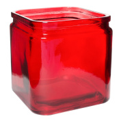 Flower Rose Glass Lip Cube Vase Decorative Centrepiece For Home or Wedding by Royal Imports - 13cm Tall, 13cm Opening, Red