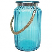 Just Artefacts 19cm H Glass Ribbed Cylinder Vase with Rope Handle - Colour