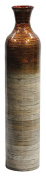 Heather Ann Creations Milano Collection Handcrafted Bamboo Floor Vase with Metallic Orange and Natural Bamboo Finish