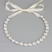 Ammei Bridal Headpiece Wedding Headband with Crystal and Ribbons Hair Jewellery