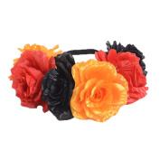 Merroyal Large Rose Flower Headband Women Girl Weddings Party Festivals Crown