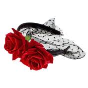 Merroyal Red Rose Flower Black Veil Headband Masquerade Party Prom Ball Halloween
