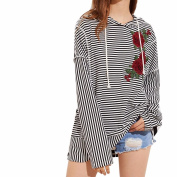 Tops Blouse, Jaminy Fashion Women Casual Blouses Ladies Floral Embroidery Long Sleeve Hooded Shirt