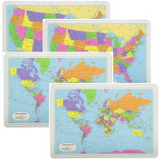 Painless Learning Educational Placemats Sets 2 USA Maps And 2 World Maps Non Slip Washable