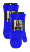 Rachael Ray Silicone Kitchen Oven Mitt with Quilted Cotton Liner, Royal Blue 2pk