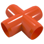 PVC Pipeworks 1.9cm Cross PVC Furniture Grade Fitting in Orange - X Joint