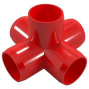 PVC Pipeworks 1.3cm 5-Way PVC Furniture Grade Fitting in Red - Side Outlet Cross