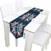 Yochoice Table Runner Home Decor, Vintage Retro Union Jack with Crown Flag Table Cloth Runner Coffee Mat for Wedding Party Banquet Decoration 33cm x 180cm