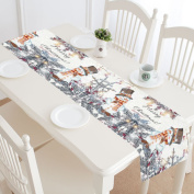 InterestPrint Cute Christmas Greeting Snowman Polyester Table Runner Placemat 41cm x 180cm , Winter Snowflakes Tablecloth for Office Kitchen Dining Wedding Party Home Decor