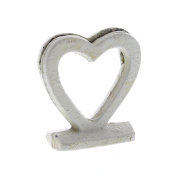 White Iron Heart Place Card Holder Set 4 | Open Metal Romantic Party