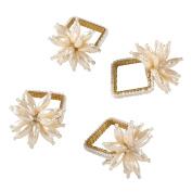 SARO LIFESTYLE Faux Pearl Flower Design Napkin Ring-Set of 4, 6.4cm x 8.9cm , Ivory