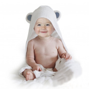 Hooded Baby Towel with Bear Ears - Extra Soft Organic Bamboo + Keeps Infants, Toddler & Newborns Dry and Warm