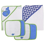 Neat Solutions Neat Solutions 2 Hooded Baby Towels and 4 Washcloths Set, Blue Whale