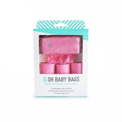 Oh Baby Bags Nappy Bag Clip-On Dispenser Gift Box with Disposable Bags for Dirty Nappies - Recycled Plastic - Pink Stars Duffle plus 48 Citrus Scented Bags
