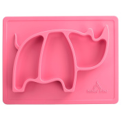 Skid Proof Silicone Placemats for Kids- Fun & Vibrant Rhino Design- Dishwasher and Microwave Safe- 100% Toxin Free Baby Feeding Accessories- Great BabyShower Gift Idea- Free Spoon and Fork