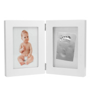 CozyCabin BABY HAND or FOOTPRINT PICTURE FRAME KIT, Cool & Unique Baby Shower Gifts for Registry, Memorable Keepsakes Decorations, Premium Clay & Wood Frame