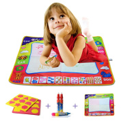 PovKeever 80*60CM Multicolour Water Doodle Magic Mats For Kids,Water Drawing Mat Child Painting Play Learning Magic Painting Mat With 4 Painting Pens
