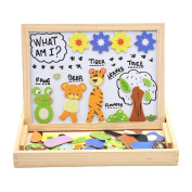 """deAO Portable Wooden Magnetic Drawing Board & Puzzle Jigsaw Set Double Sided Easel Toys """"Animals and Plants"""""""