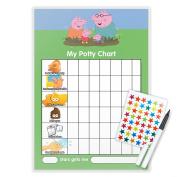 PEPPA PIG POTTY TOILET TRAINING reward Chart + Pen & Free Star Stickers - PG10T