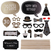 AllRight 20pcs 30th Birthday Birthday Party Photo Booth Props Decoration Favour
