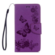 LG Stylo 2 Wallet Case, ARSUE Premium Soft Flip Folio [Kickstand Feature] PU Leather Wallet Butterfly Flower Case with ID & Credit Card Pockets for LG Stylo 2 Plus / Stylus 2 / LS775,Purple