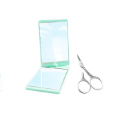 Curved Facial Hair Scissors and 360 Degree Swivel Makeup Cosmetic Mirror Set for Beauty and Making Up