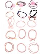 15 pcs Fancyin Assorted Colourful Popular Pony-hair Holders Hair Ties Elastic Hair-Bands for women