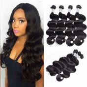 Guangxun Hair Brazilian Body Wave 4 Bundles 16 16 18 46cm Full Head,7A 100% Unprocessed Virgin Remy Human Hair Weave Extensions Natural Black Colour
