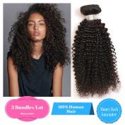 Ruiwen Hair 3 Bundles Brazilian Hair Curly Hair Grade 7A Unprocessed Human Hair Weave Natural Black colour Water Wave Hair(16 18 50cm )