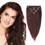 AbHair Clip in Hair Extensions 100% Real Remy Human Hair Extra Thick 46cm 160g Silky Straight 8 Piece Full Head