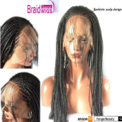 YongerBeauty Micro Braided Lace Front wigs With Baby Hair Realistic Scalp Design Heat Resistant Synthetic Full wig for Women Dress
