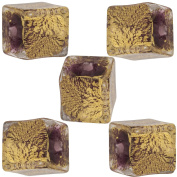 Purple Cracked Gold Foil Cube 10mm, 5 Pieces Authentic Murano Glass Bead