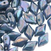 Czech Glass GemDuo Beads, 2-Hole Diamond Shaped Beads 5x8mm, 10 Grammes, Turquoise Blue Nebula