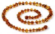 Baltic Amber Necklace for Adults - Size 17.5 inches (45 cm) - Suitable for Women and Men - Polished Cognac Amber Beads - BoutiqueAmber