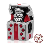 Artbeads Christmas Santa Claus Send Gift Charm S925 Sterling Silver Birthstone Beads Fit DIY Charms