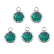 5PCS Stainless Steel Birthstone Charms Crystal Beads Findings for Jewellery Making 14mmx10mm