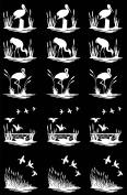 Marsh Birds 2.5cm - White 17CC853 Fused Glass Decals