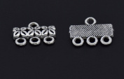Antique Silver 3 Strand End Bar Clasps Necklace Clasp Bails Pendants Charms Connector Link 14X10mm Pack of 30Pcs