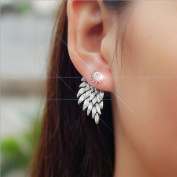 LittleB Hot Unique ear studs silvery Angel Wings Earrings for Women Girls with Alloy Apply to Wedding Party Gift Casual